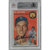 Al Kaline signed Detroit Tigers 1954 Topps 201 Rookie Trading Card Beckett Encapsulation 0010061169