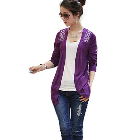 Women Lace Sweet Candy Color Crochet Knit Blouse Top Coat Sweater Cardigan