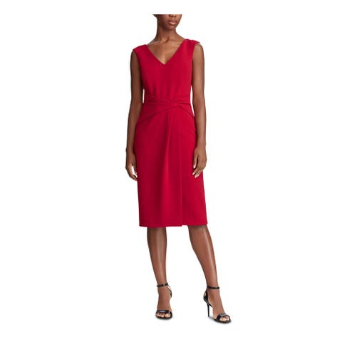 RALPH LAUREN Red Sleeveless Midi Shift Dress Size 0