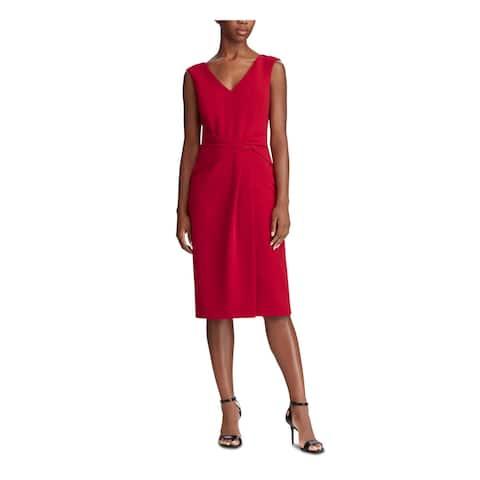 RALPH LAUREN Red Sleeveless Midi Shift Dress Size 12