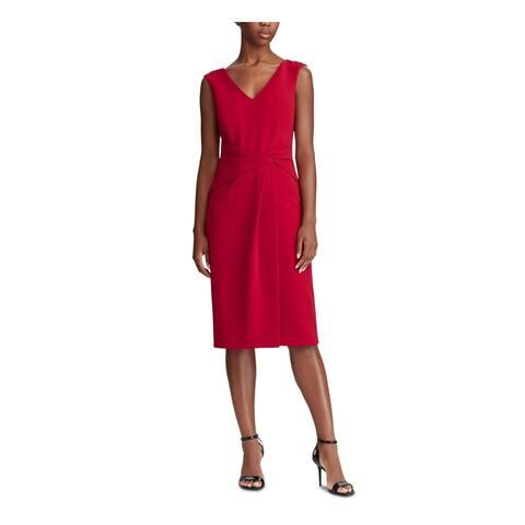 RALPH LAUREN Red Sleeveless Midi Shift Dress Size 14