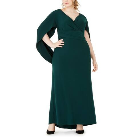 Betsy & Adam Women's Dress Green Size 20W Plus Cape Back Jersey Gown