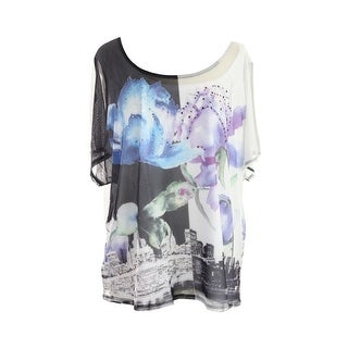 Style & Co. Plus Size Multi Short-Sleeve Floral Printed Mesh Tee 1X