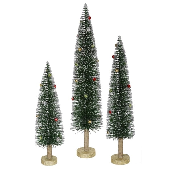 Set of 3 Whimsical Glittered Artificial Mini Village Christmas Trees - Unlit - green