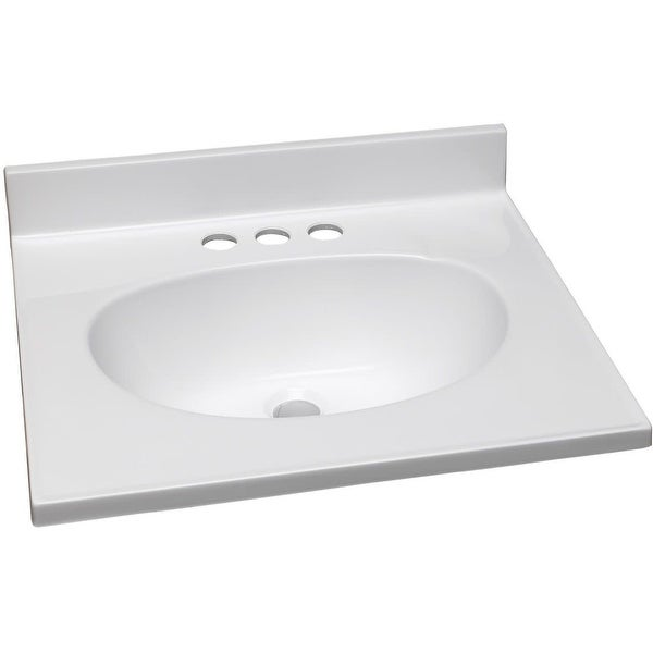 """Design House 586172 19"""" Cultured Marble Vanity Top with Backsplash - Solid White"""