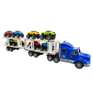 Envo Toys Mega Monster Toy Truck Play Set With Trailer Large XL Size Blue