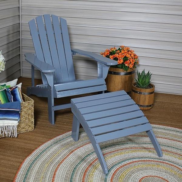 Sunnydaze Classic Wooden Adirondack Chair with Ottoman - Gray