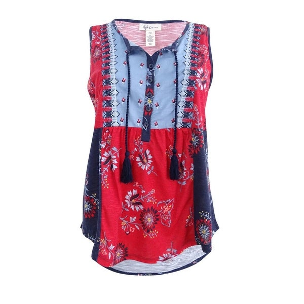 cb41a2f8c0e67 Style & Co Women's Petite Embroidered Printed Top (PM, Blue Patches) - Blue  Patches - PM