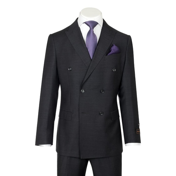 Merlot, Modern Fit, Charcoal Gray, Pure Wool Men's Suit by Tiglio Luxe TIG1010