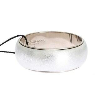 Dolce & Gabbana Silver Leather Brass Bangle Bracelet