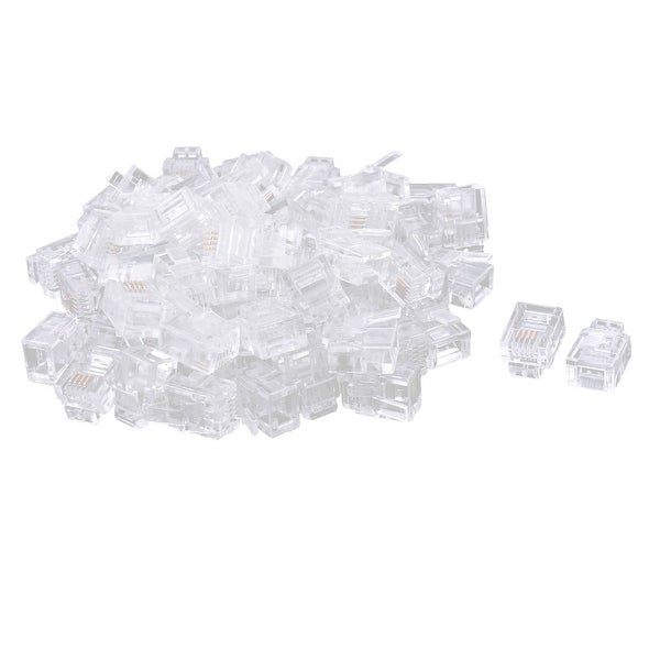 76 PCS Plastic Housing 6P4C RJ11 Network Cable Crimp Plug Connector Clear