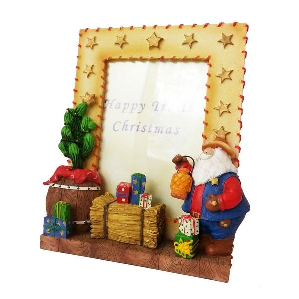 Happy Trails Western Santa Christmas Picture Frame