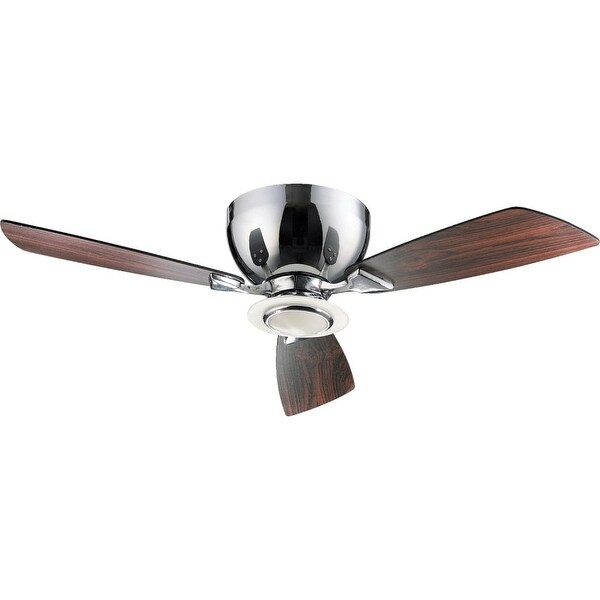 "Quorum International 70443 Nikko 44"" 3 Blade Flush Mount Indoor Ceiling Fan - Blades, Integrated Light Kit and Wall Control"