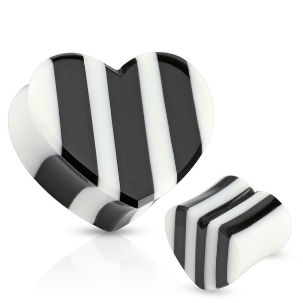 Black and White Striped Heart Organic Horn and Bone Saddle Fit Plug (Sold Individually)