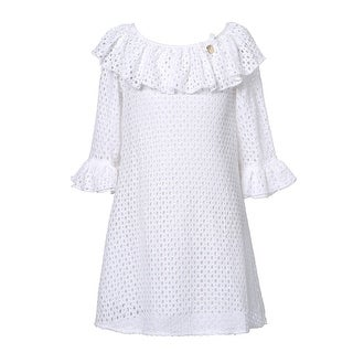 Richie House Girls' Blouse with Ruffled Sleeve