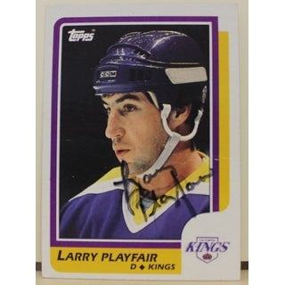 Larry Playfair Los Angeles Kings Autographed 1986-87 Topps Card