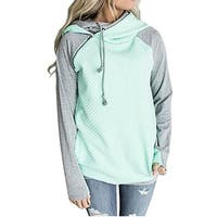 Double Hooded Cotton Stripe Sweatshirt Funnel Neck Pullover For Ladies