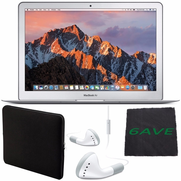 """Apple 13.3"""" MacBook Air 128GB SSD #MQD32LL/A + White Wired Earbuds Headphones + Padded Case For Macbook + Fibercloth Bundle"""