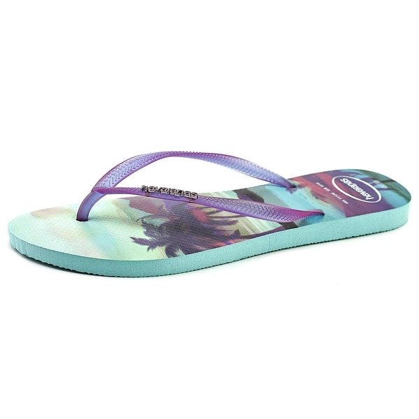 Havaianas Slim Logo Women  Open Toe Synthetic Purple Flip Flop Sandal