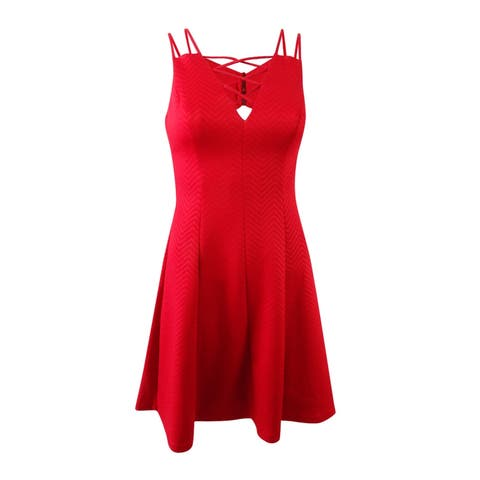 GUESS Women's Embossed Lace-Up Fit & Flare Dress (2, Red) - Red - 2