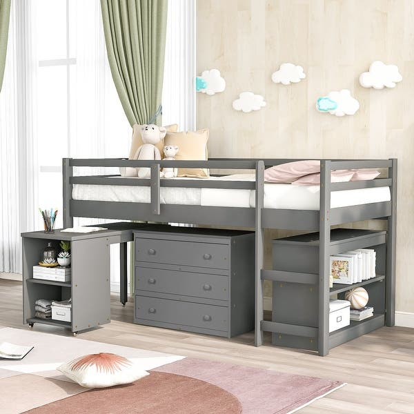 Low Study Twin Loft Bed With Cabinet And Rolling Portable Desk Overstock 32454269