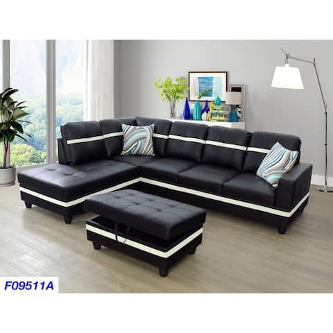 3-Pieces Sectional Sofa Set,Left Facing Black(09511A)