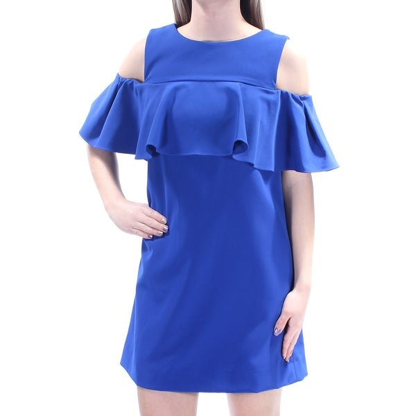 3011381a4ccc83 Shop TAHARI Womens Blue Ruffled Cut Out Short Sleeve Jewel Neck Mini Shift  Formal Dress Petites Size  2 - Free Shipping On Orders Over  45 - Overstock  - ...