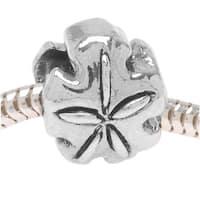 Silver Tone Sand Dollar Shaped Bead - European Style Large Hole (1)