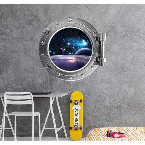 Spaceship Porthole Window Wall Mural. Outer Space View Decal