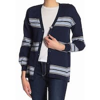 Democracy Blue Women's Size Large L Striped Cardigan Sweater