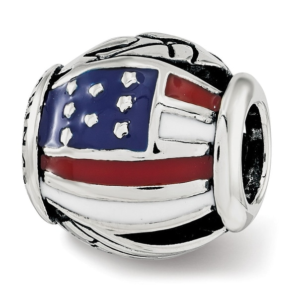 Sterling Silver Reflections Enameled USA Theme Bead (4.5mm Diameter Hole)