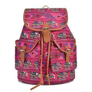 Hearty Trendy Girls Women Red Elephant Print Exterior Pockets Backpack