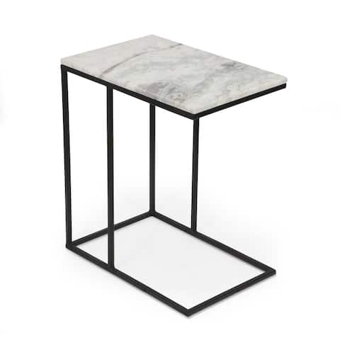 """Krause Modern Glam Handcrafted Marble Top C-Shaped Side Table by Christopher Knight Home - 18.00"""" L x 12.00"""" W x 20.25"""" H"""