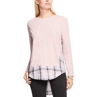 Two by Vince Camuto Womens Casual Top Mixed Media Long Sleeve