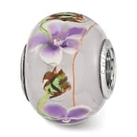 Sterling Silver Reflections Purple Floral Butterfly Glass Bead (4.5mm Diameter Hole)