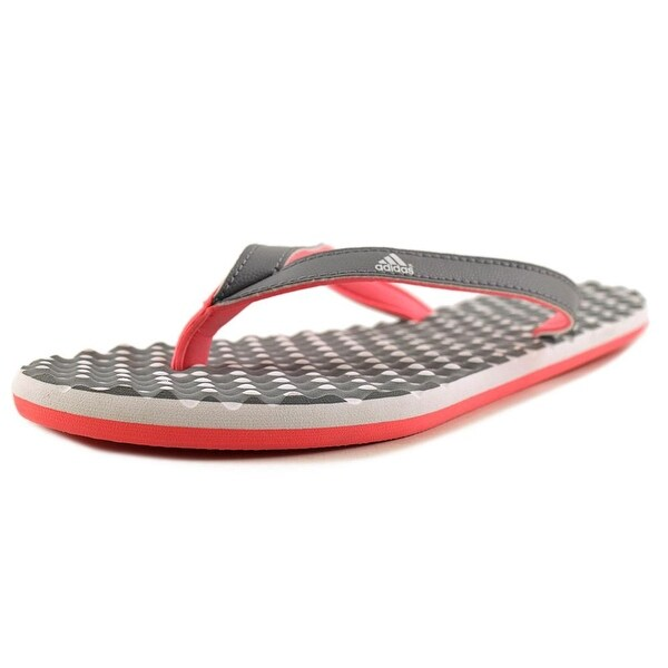 Adidas Eezay Dots Women Open Toe Leather Gray Slides Sandal