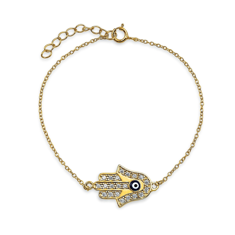 Evil Eye  /& Hamsa Hand Bracelet Chain 18K Gold Plated Evil Eye Bracelet 7