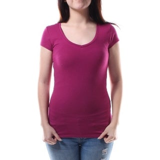 ENERGIE New Womens 1327 Purple Short Sleeve T-Shirt Top Juniors S B+B