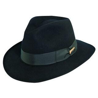 Dorfman Pacific Men's Fur Felt Indiana Jones 2.5 Inch Brim Fedora Hat