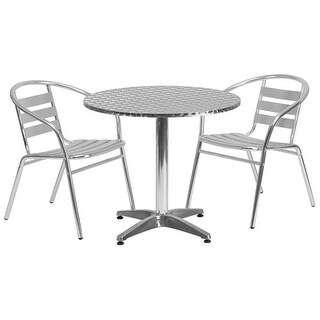 "Offex 31.5"" Round Aluminum Indoor-Outdoor Table With 2 Slat Back Chairs"