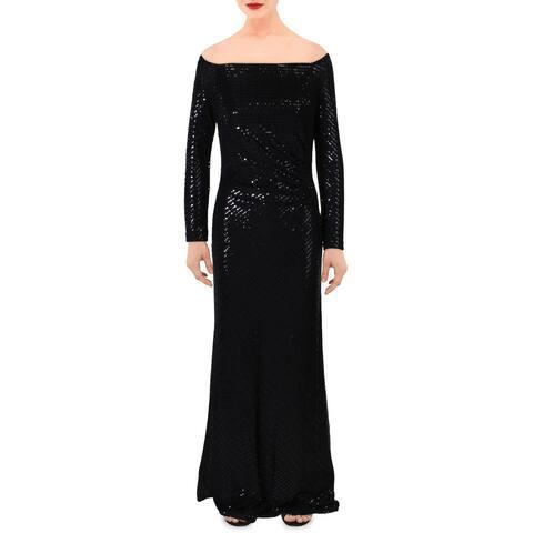 Cachet Womens Evening Dress Metallic Glitter - Black
