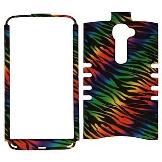 Unlimited Cellular Rocker Snap-On Case for LG G2 Verizon VS980i (Rainbow Zebra P