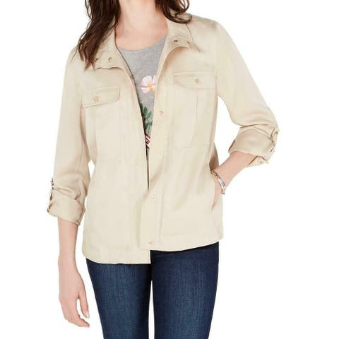 Tommy Hilfiger Womens Utility Jacket Beige Large L Snap Button Front