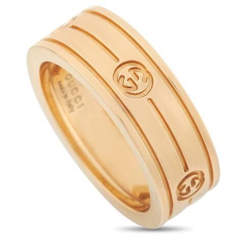 Gucci Yellow Gold Interlocking G Band Ring Size 4.75
