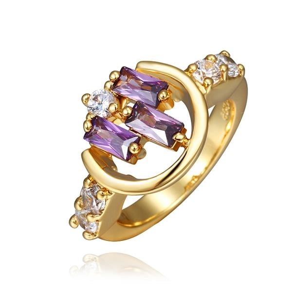 Gold Plated Lavender Citrine Linear Design Ring