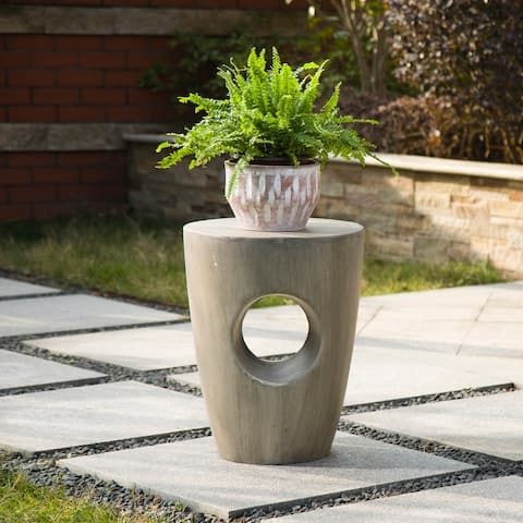 """18""""H Multi-functional MGO Faux Concrete Garden Stool Plant Stand Accent Table by Glitzhome"""