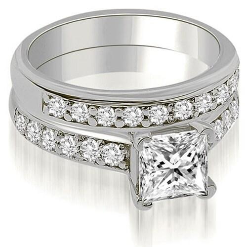 1.15 cttw. 14K White Gold Cathedral Princess Cut Diamond Bridal Set
