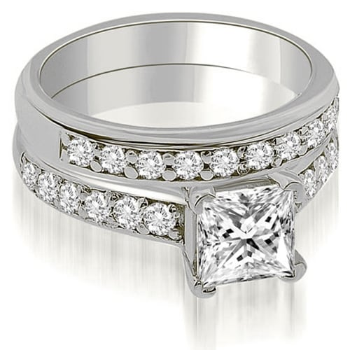 1.15 cttw. 14K White Gold Cathedral Princess Cut Diamond Bridal Set