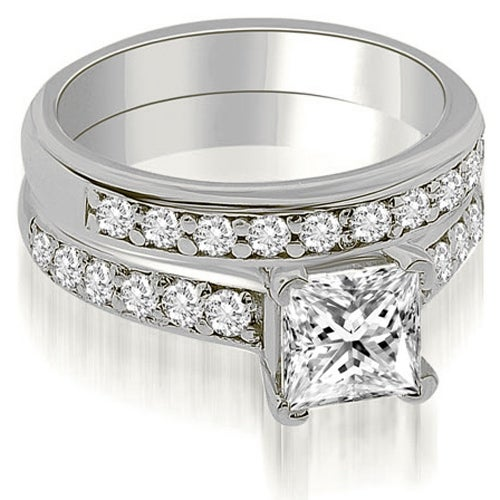 1.65 cttw. 14K White Gold Cathedral Princess Cut Diamond Bridal Set