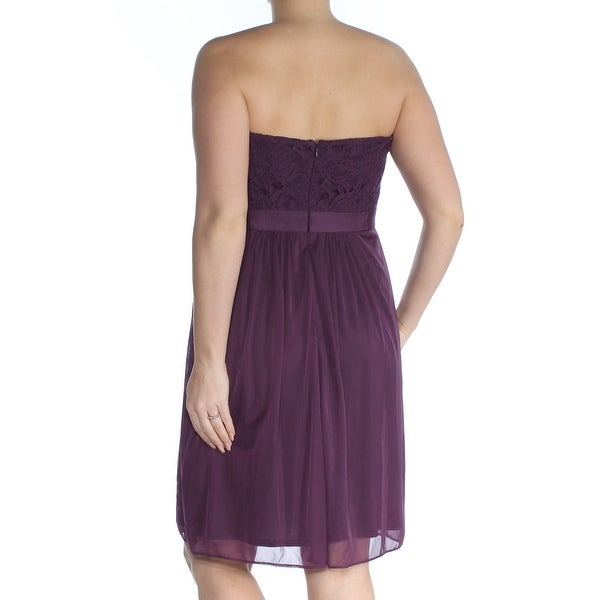 ADRIANNA PAPELL Womens Purple Lace Tulle